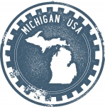 Vector Michigan State Stamp