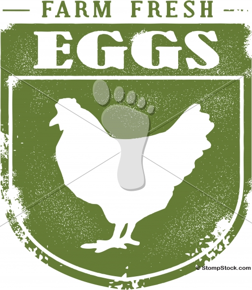Farm Fresh Organic Eggs Vector Sign