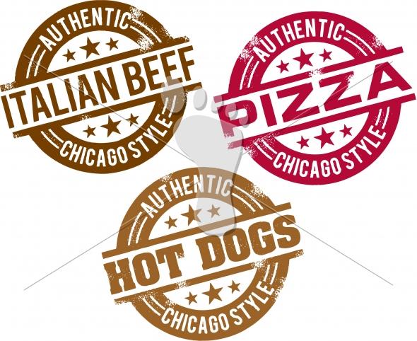 Chicago Hot Dog, Pizza, Sandwich Menu Stamps