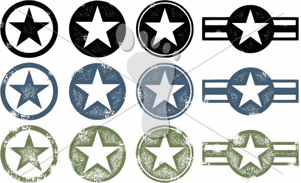 Military Stars – Distressed Vector Designs