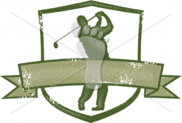 Vintage Style Distressed Golf-Golfer Crest