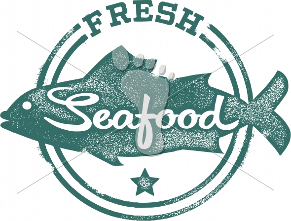 Fresh Seafood Restaurant Vector Menu Stamp