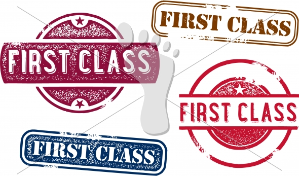 Vintage First Class Rubber Stamps