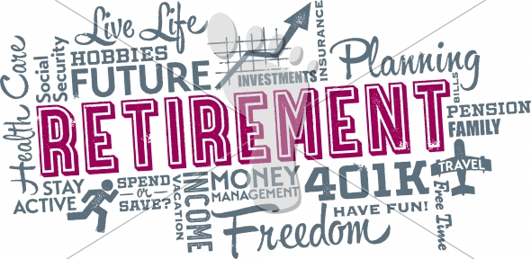 Retirement Planning Word and Icon Cloud Collage