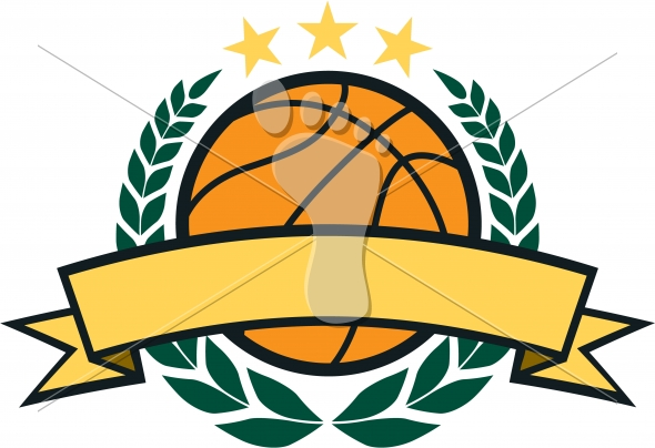 Basketball Graphic with Blank Banner