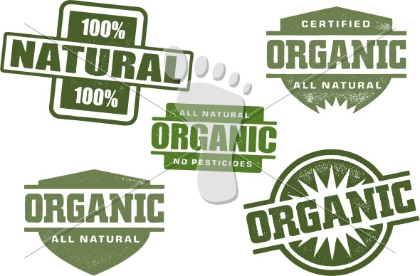 Organic and Natural Food Product Vector Stamps