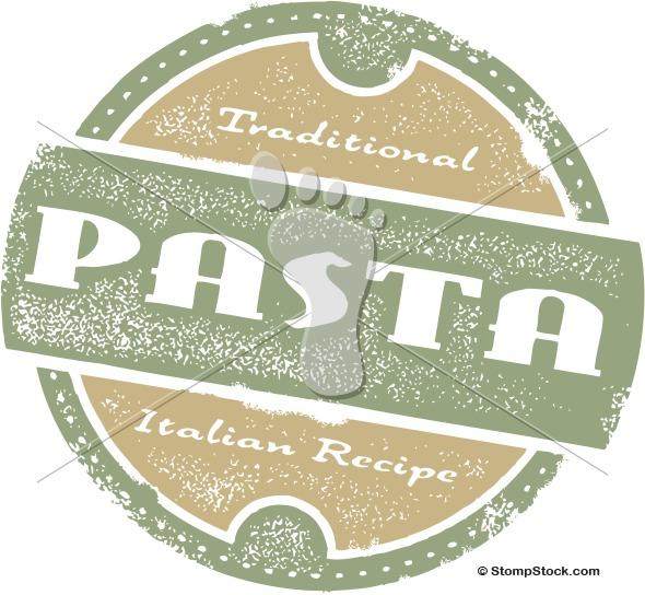 Italian Pasta Menu Stamp Vector Clipart
