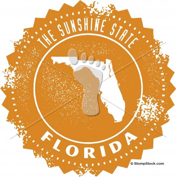 Vintage Florida Usa State Stamp Seal Stompstock