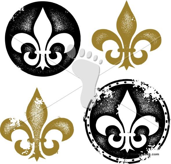 Grunge Fleur De Lis Design Graphic