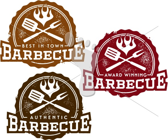 Best Barbecue BBQ Restaurant Menu Design Stamps