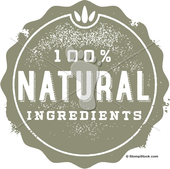 100% Natural Product Ingredients Rubber Stamp