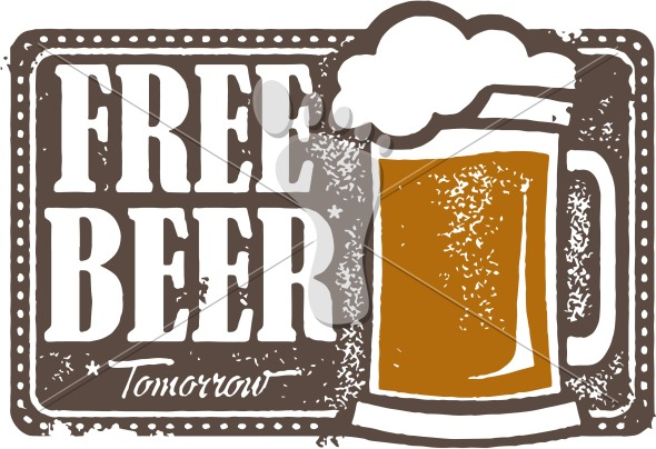 Vintage Free Beer Tomorrow Bar Sign