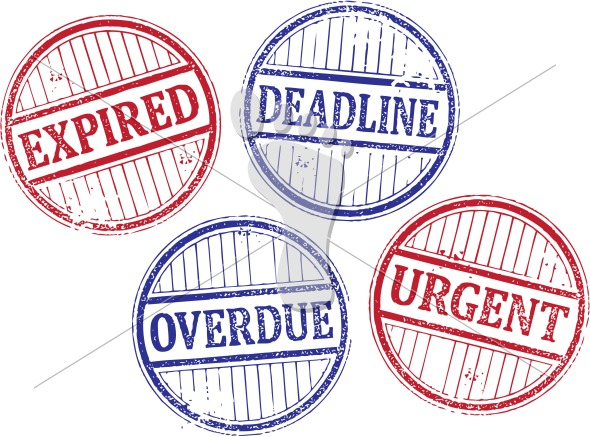 Expired Deadline Overdue Urgent Vector Rubber Stamps