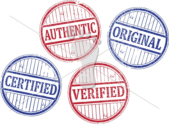 Certified Authentic Verified Original Vector Rubber Stamps