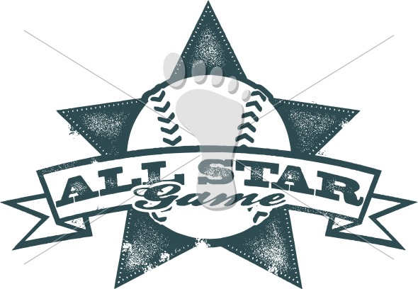Vintage All Star Baseball Game Design