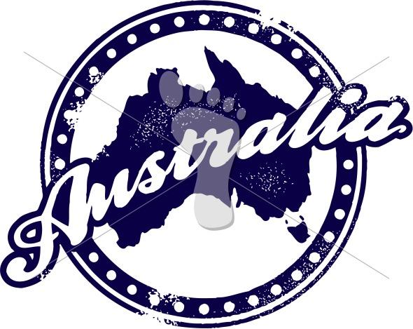 Vintage Australia Rubber Stamp Vector