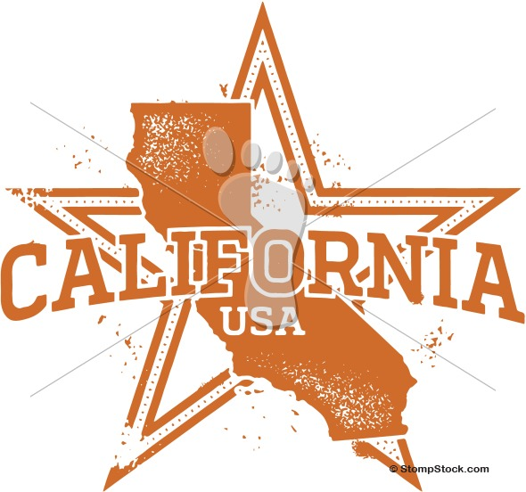 Vintage California State Star Clip Art