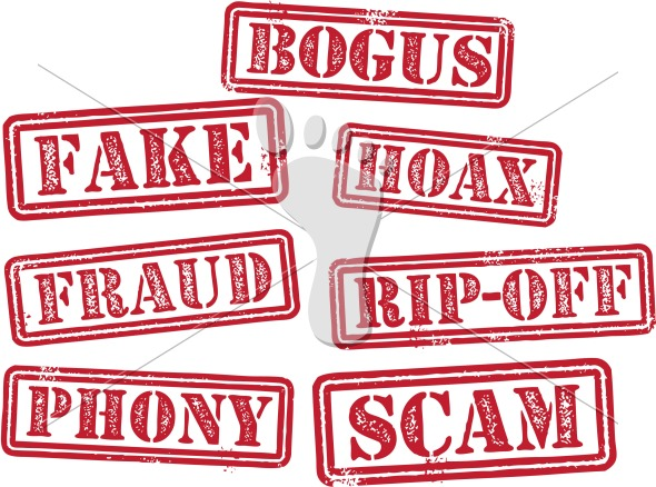 Fake Fraud Bogus Scam Hoax Rubber Stamps