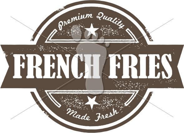 Vintage French Fries Menu Design Stamp