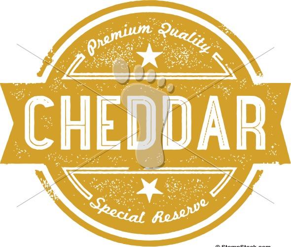 Premium Cheddar Cheese Vector Label