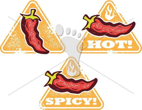 Hot and Spicy Warning Icons