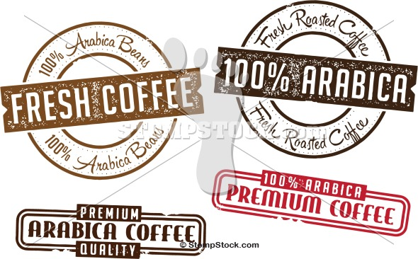 100% Arabica Coffee Label Stamps