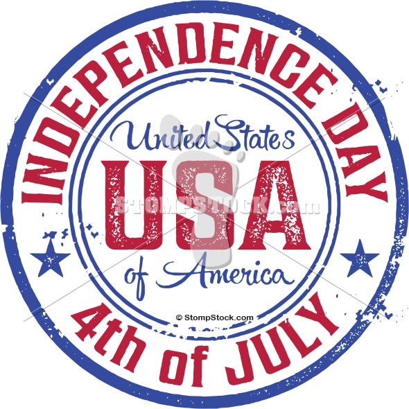 USA Fourth of July Rubber Stamp