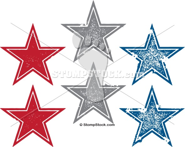 Distressed Vector Star Stamp Designs