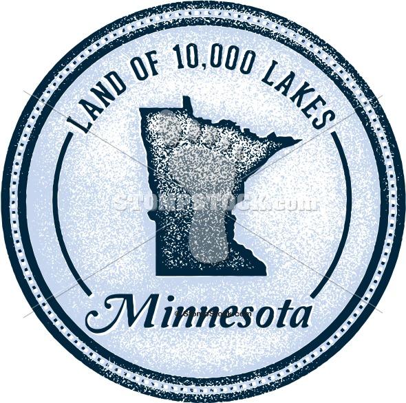Vintage Style Minnesota 10,000 Lakes Logo