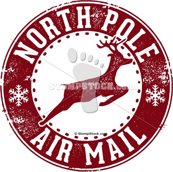 North Pole Santa Air Mail Postmark Stamp