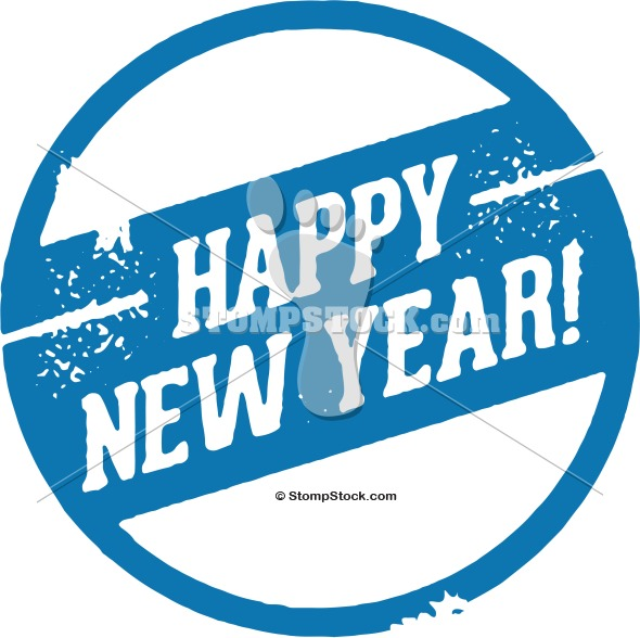Happy New Year Rubber Stamp Image