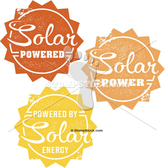 Vintage Solar Powered Sun Clip Art