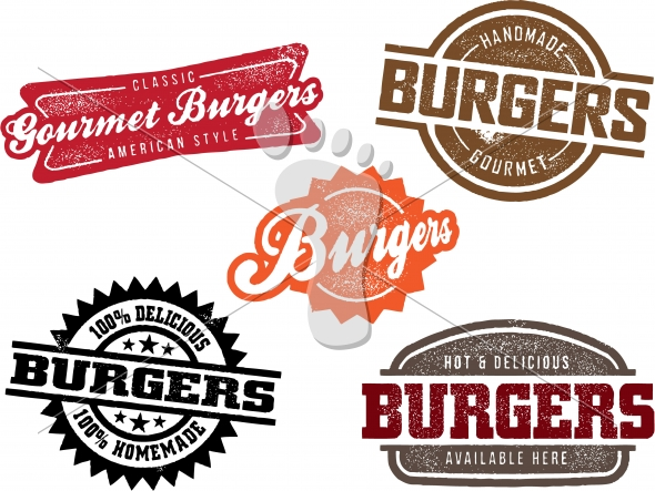 Vintage Hamburger Menu Stamp Designs