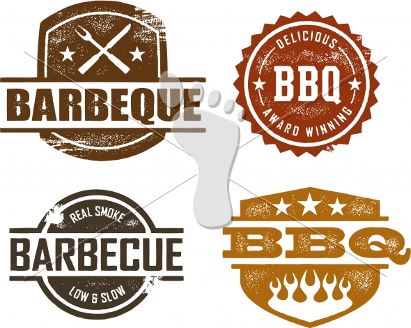 Vintage Style Barbecue BBQ Menu Stamps