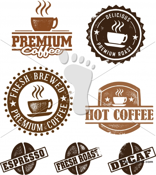 Vintage Style Coffee Vector Distressed Stamps