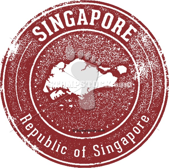 Vintage Singapore Travel Stamp