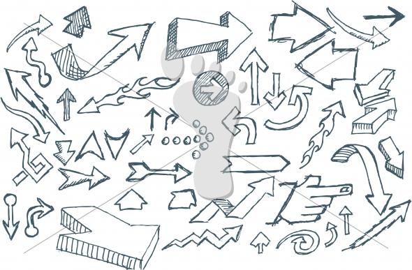 Hand Sketched Vector Doodle Arrows