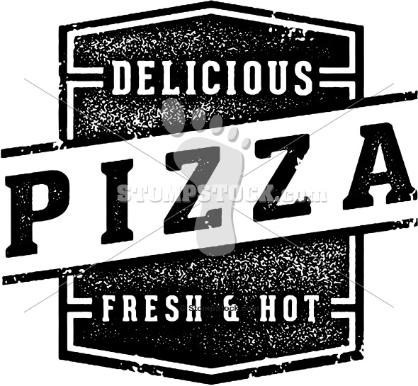 Vintage Pizza Pizzeria Logo Stamp