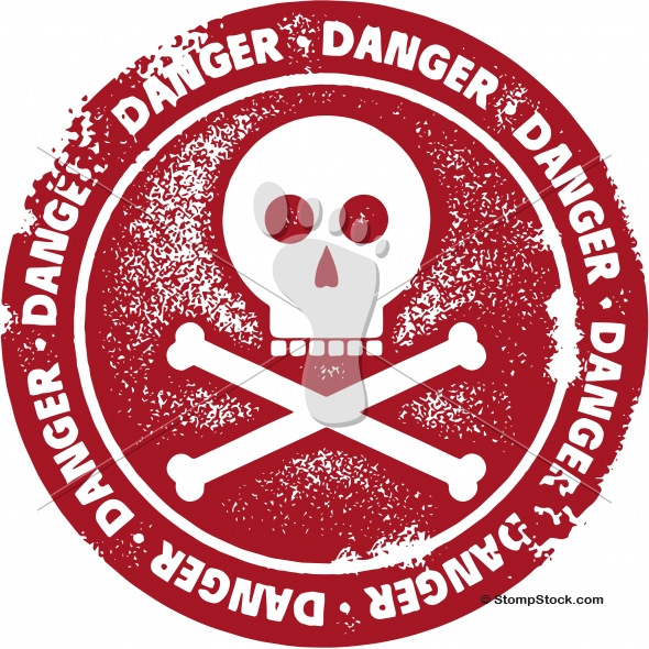 Danger Stamp with Skull and Crossbones