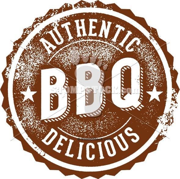 Vintage BBQ Menu Design Stamp Logo