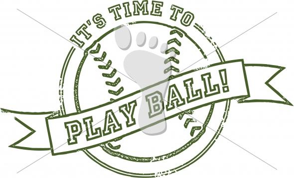 Play Ball Baseball or Softball Vintage Stamp