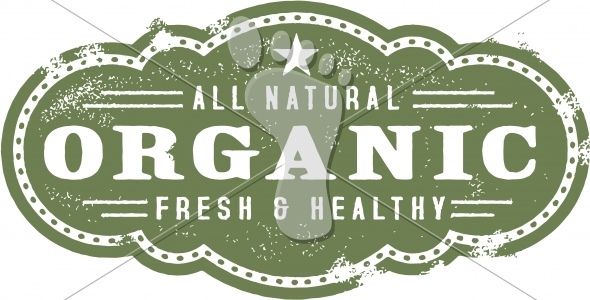 Vintage Organic Food Healthy Sign Graphic