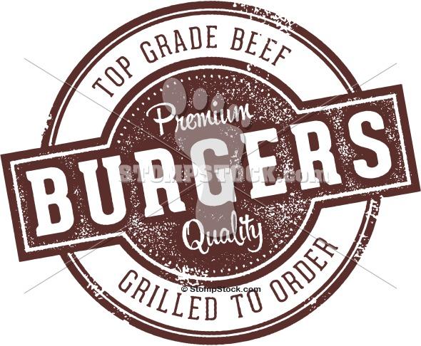 Vintage Burger Restaurant Menu Stamp