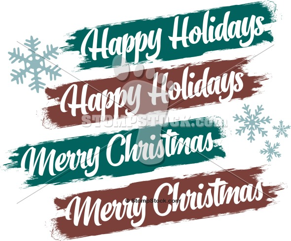 Merry Christmas Happy Holidays Text Banner