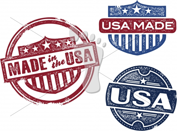 Vintage Made in the USA Vector Icons