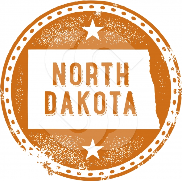 Vintage Style North Dakota USA State Stamp/Seal