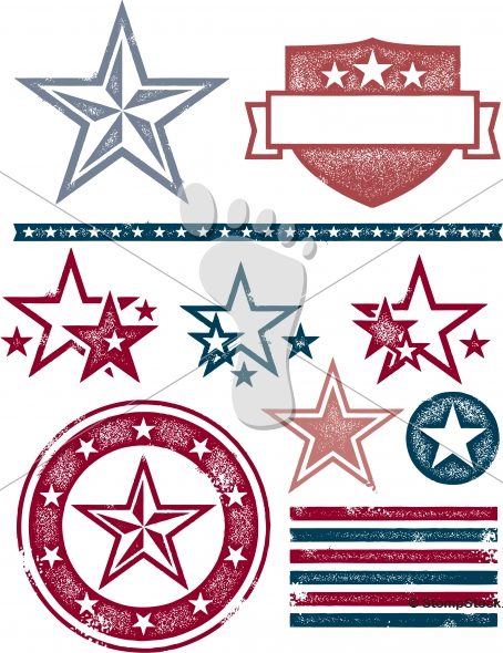 Vintage Patriotic Stars and Stripes – Vector Grunge
