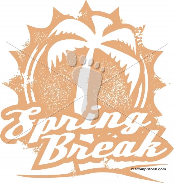Vintage Tropical Spring Break Vacation Stamp
