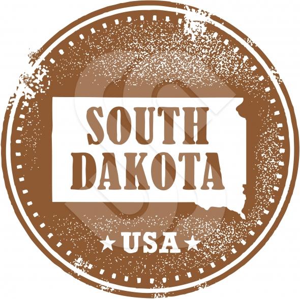 Vintage Style South Dakota State Vector Stamp