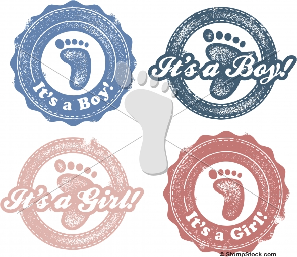 It's a Boy – It's a Girl Vector Stamps